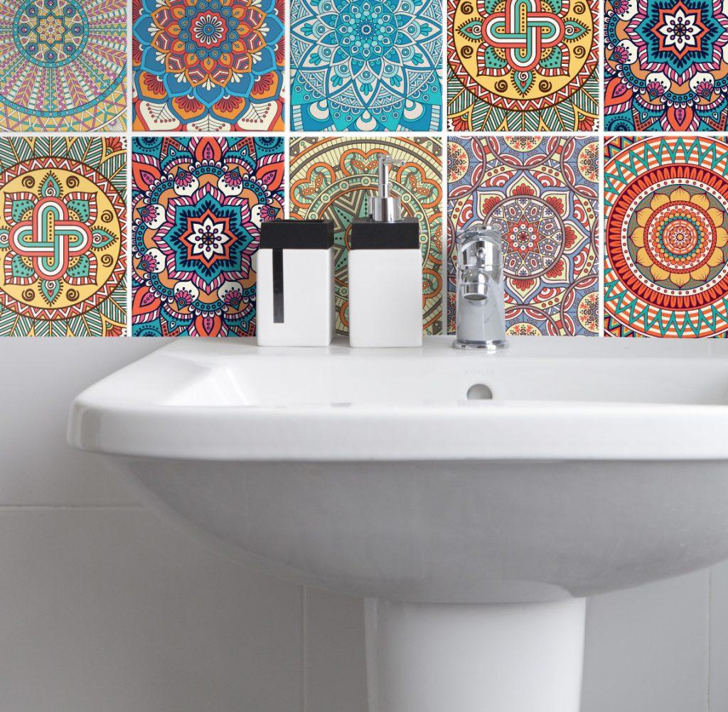 Fliesenaufkleber für Küche und Badezimmer - Mandala Bunt