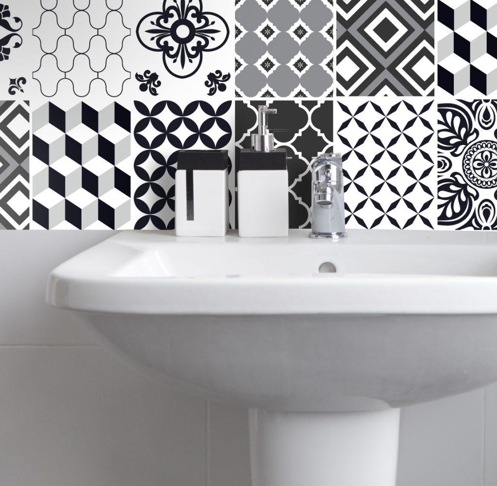 Fliesenaufkleber f r k che und bad marokkanisch patchwork schwarz wei wunderwand - Badezimmer marokkanisch ...