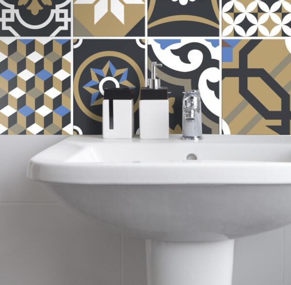 Fliesenaufkleber für Bad Deko u. Küche - Orientalisch Geometrisch