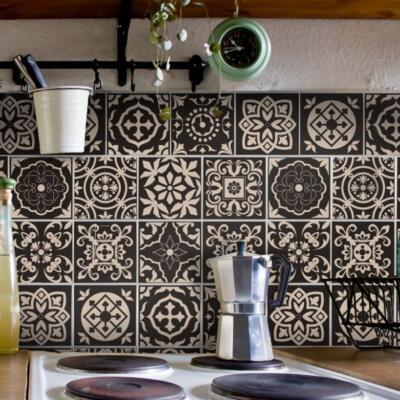 Fliesenaufkleber für Bad Deko u. Küche - Portugiesisch-Braun-Creme