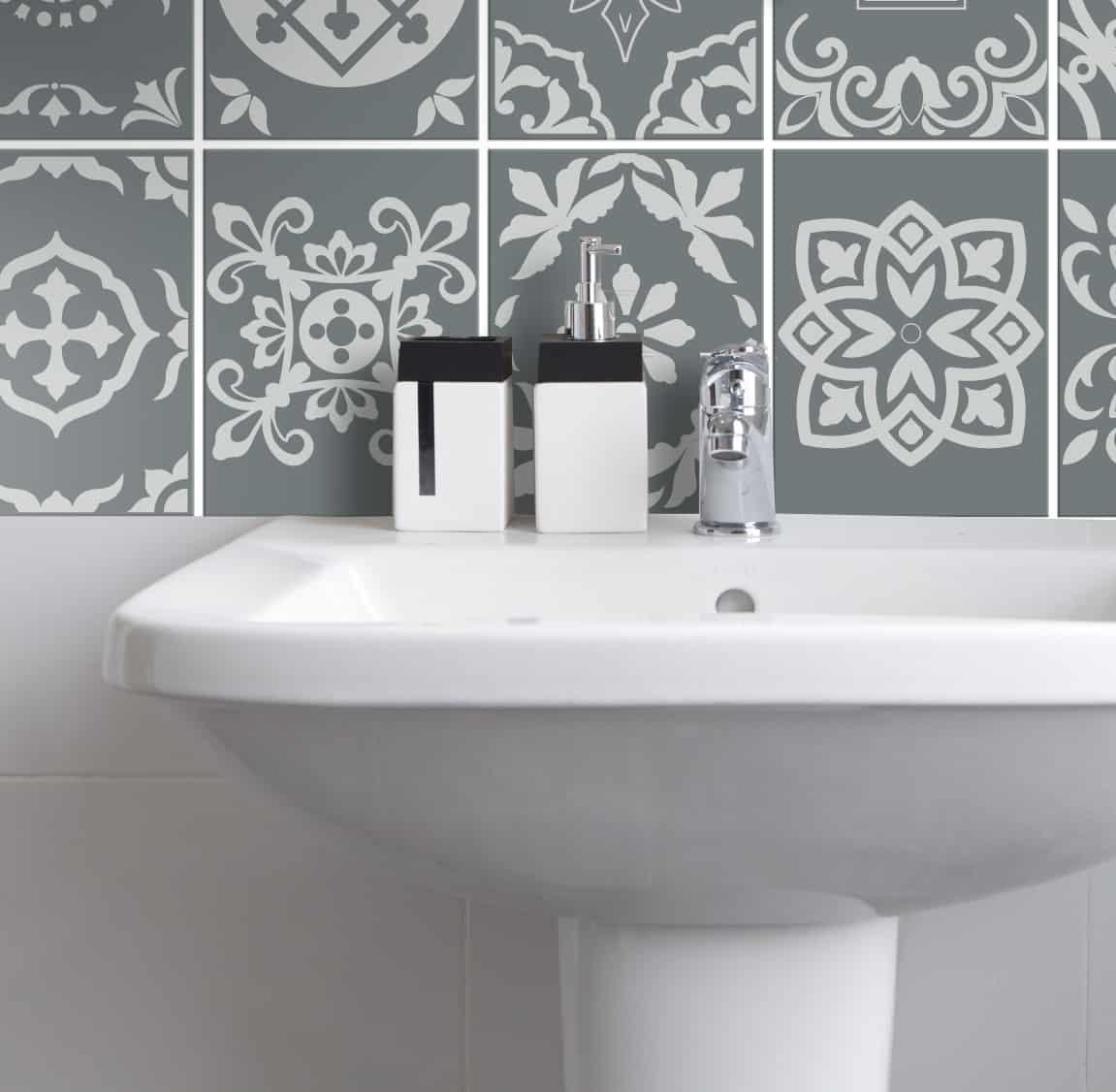 Fliesenaufkleber für Bad Deko u. Küche – Portugiesisch-Grau – Wunderwand