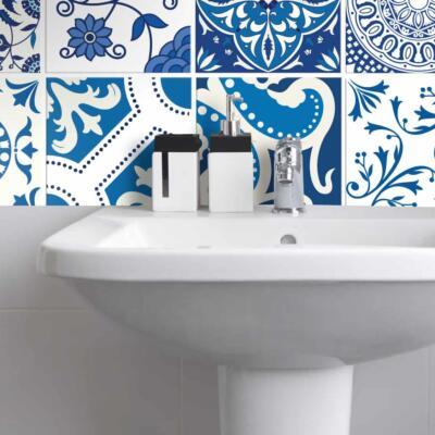 Fliesenaufkleber für Bad Deko u. Küche - Portugiesisch Blau Weiß
