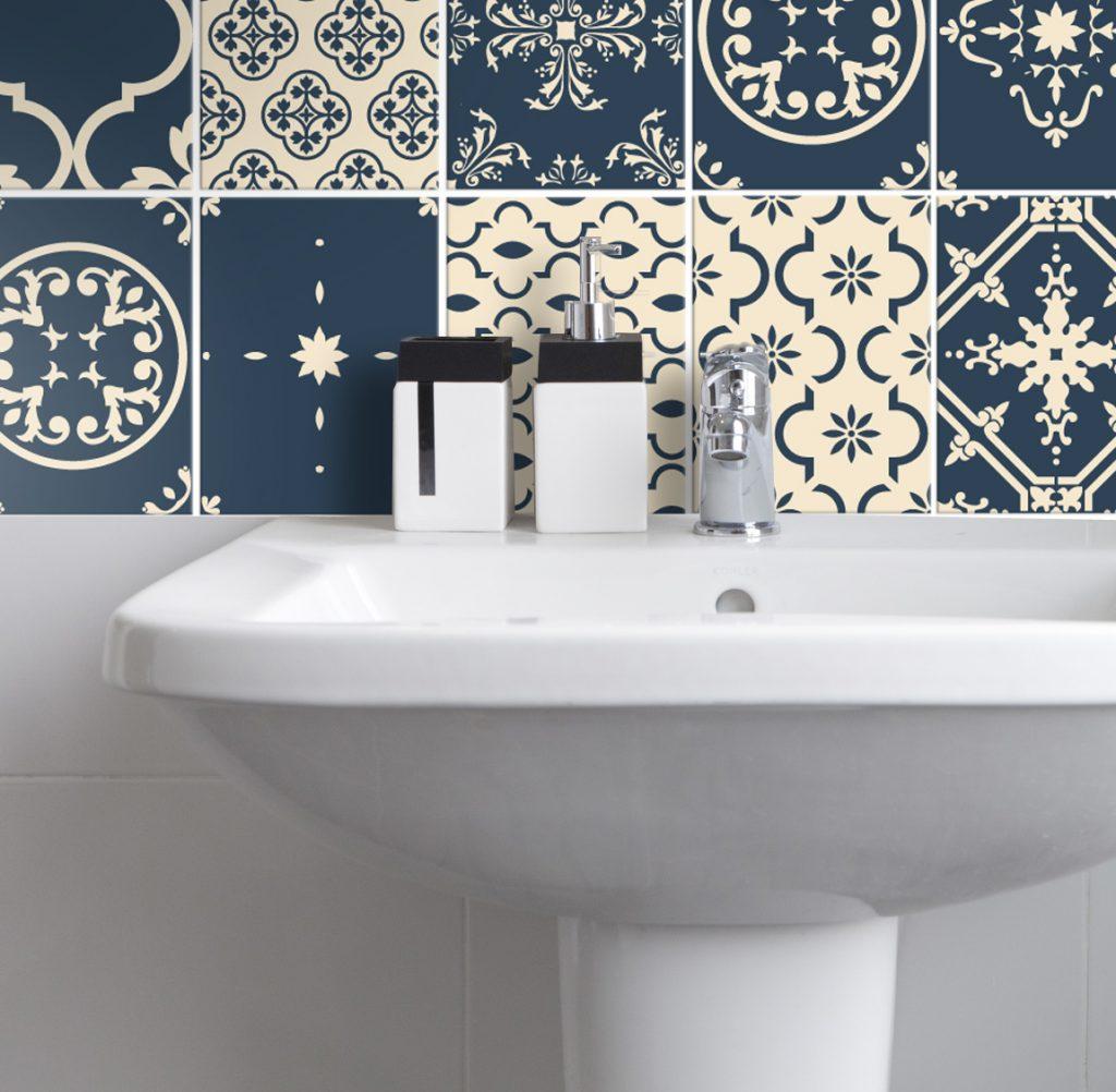 AuBergewohnlich Fliesenaufkleber Für Bad Deko U. Küche   Portugiesisch Blau Creme