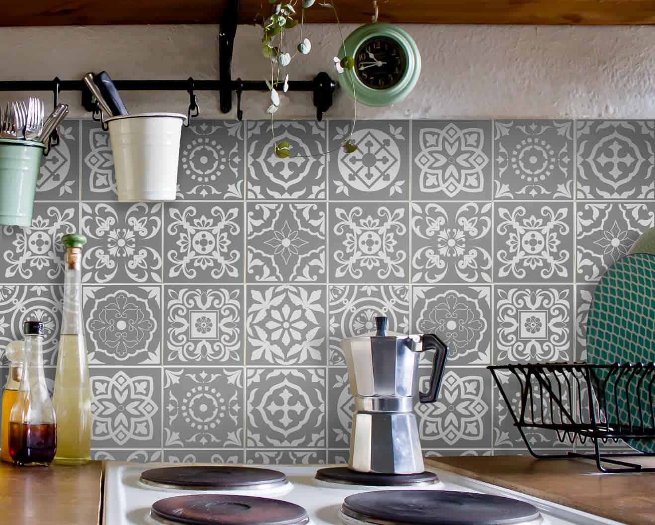 fliesenaufkleber f r bad deko u k che portugiesisch grau wunderwand. Black Bedroom Furniture Sets. Home Design Ideas