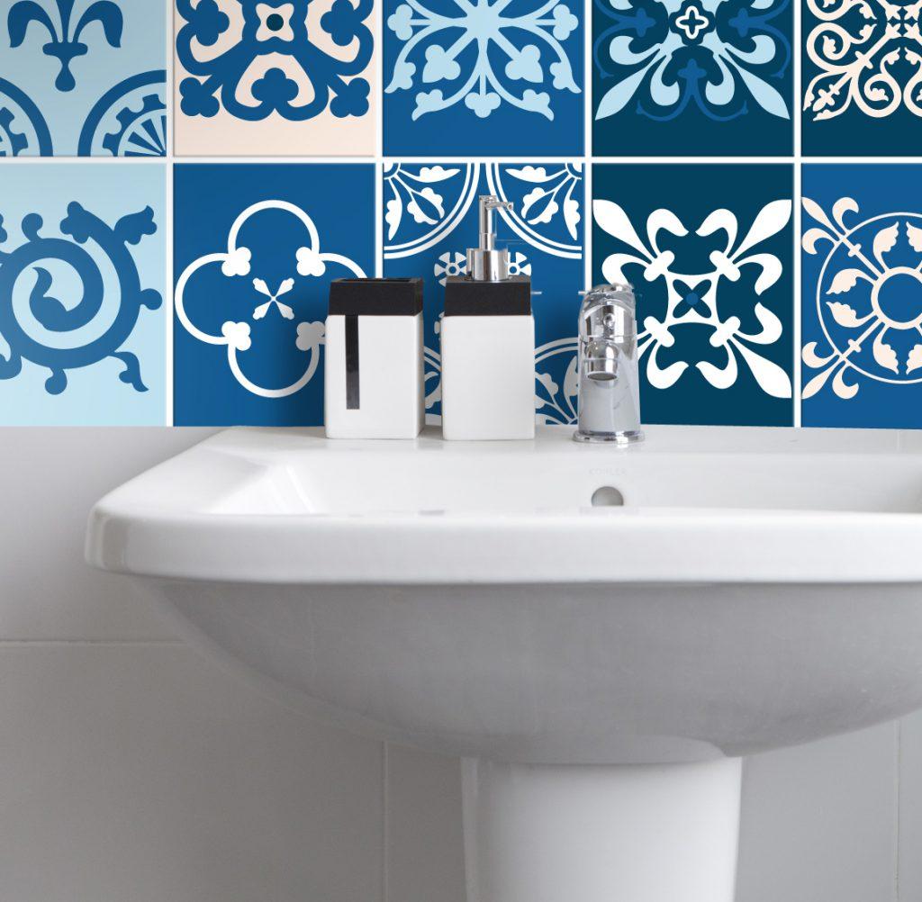 Fliesenaufkleber für Bad Deko u. Küche - Portugiesisch Blau - Wunderwand