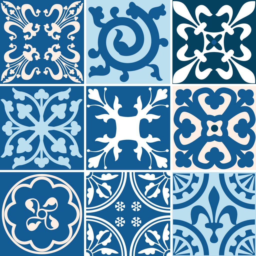 Fliesenaufkleber für Bad Deko u. Küche - Portugiesisch Blau