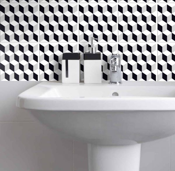 Fliesenaufkleber für Bad Deko u. Küche - Cubes