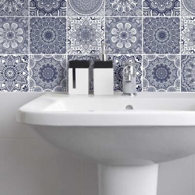 Fliesenaufkleber für Bad Deko u. Küche - Mandala Dunkelblau