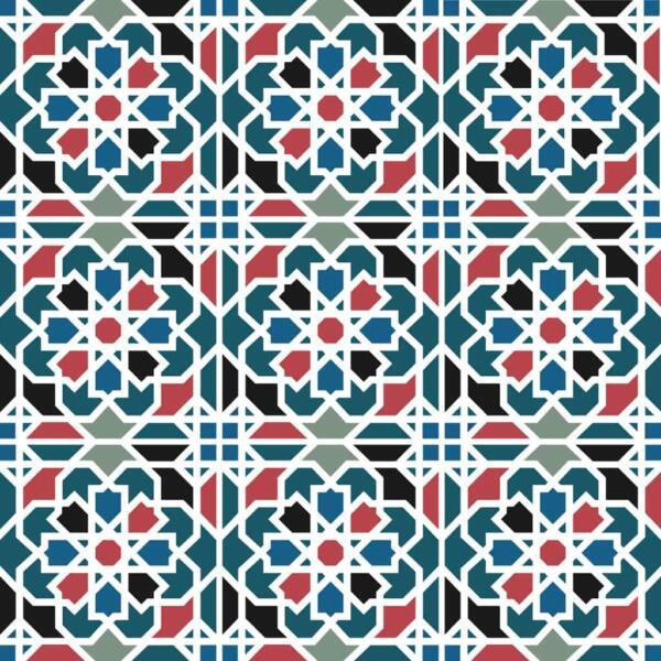 Fliesenaufkleber für Bad Deko u. Küche - Marokkanisch Geometrisch