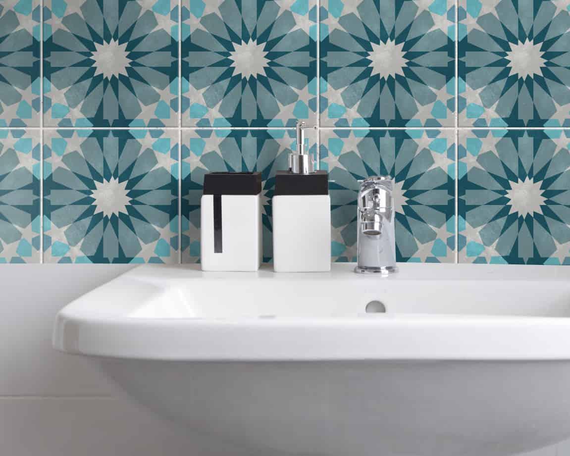 Fliesenaufkleber für Küche und Bad – Blue Lagoon Marokkanisch ...