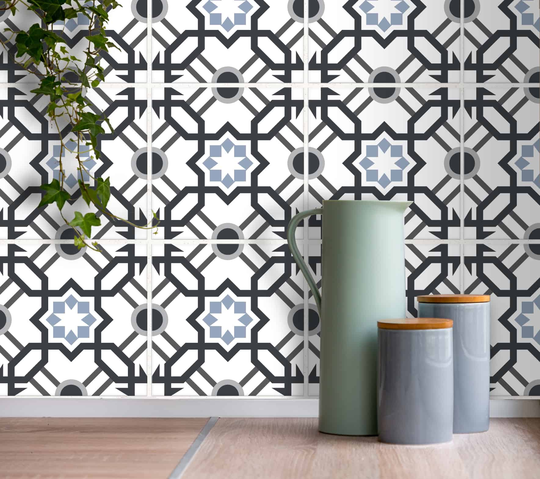 fliesenaufkleber f r k che und bad arabisch geometrisch wei grau wunderwand. Black Bedroom Furniture Sets. Home Design Ideas