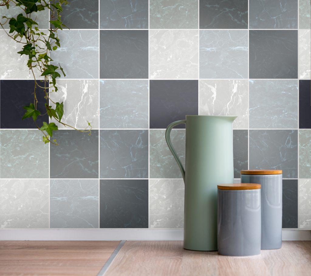 fliesensticker f r k che und bad marmor optik. Black Bedroom Furniture Sets. Home Design Ideas