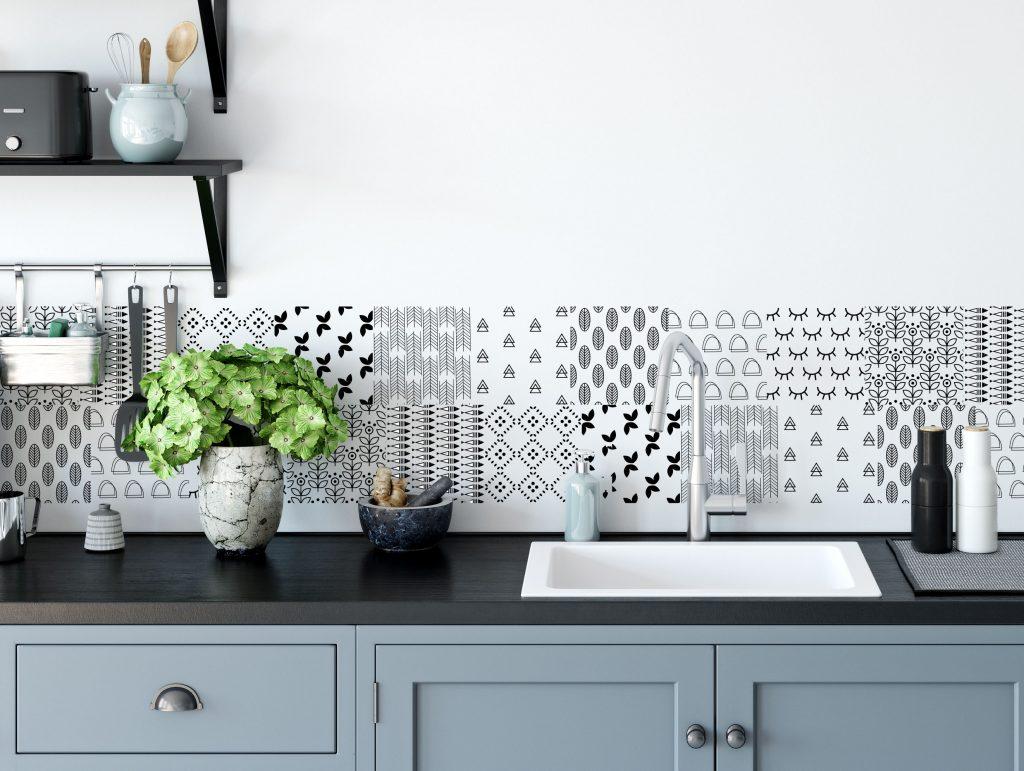 Brilliant Tile Sticker For Kitchen And Bathroom Scandinavian Pattern Transparent Interior Design Ideas Truasarkarijobsexamcom